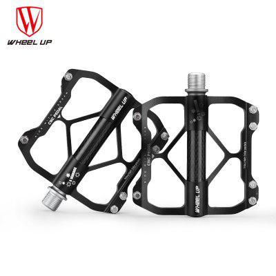 WHEEL UP High Quality Aluminium Alloy Carbon Tube Bike Bicycle Pedals Mountain Road Bike Pedals Cycling Pedals CNC 3 Bearings Cycling Pedals Black