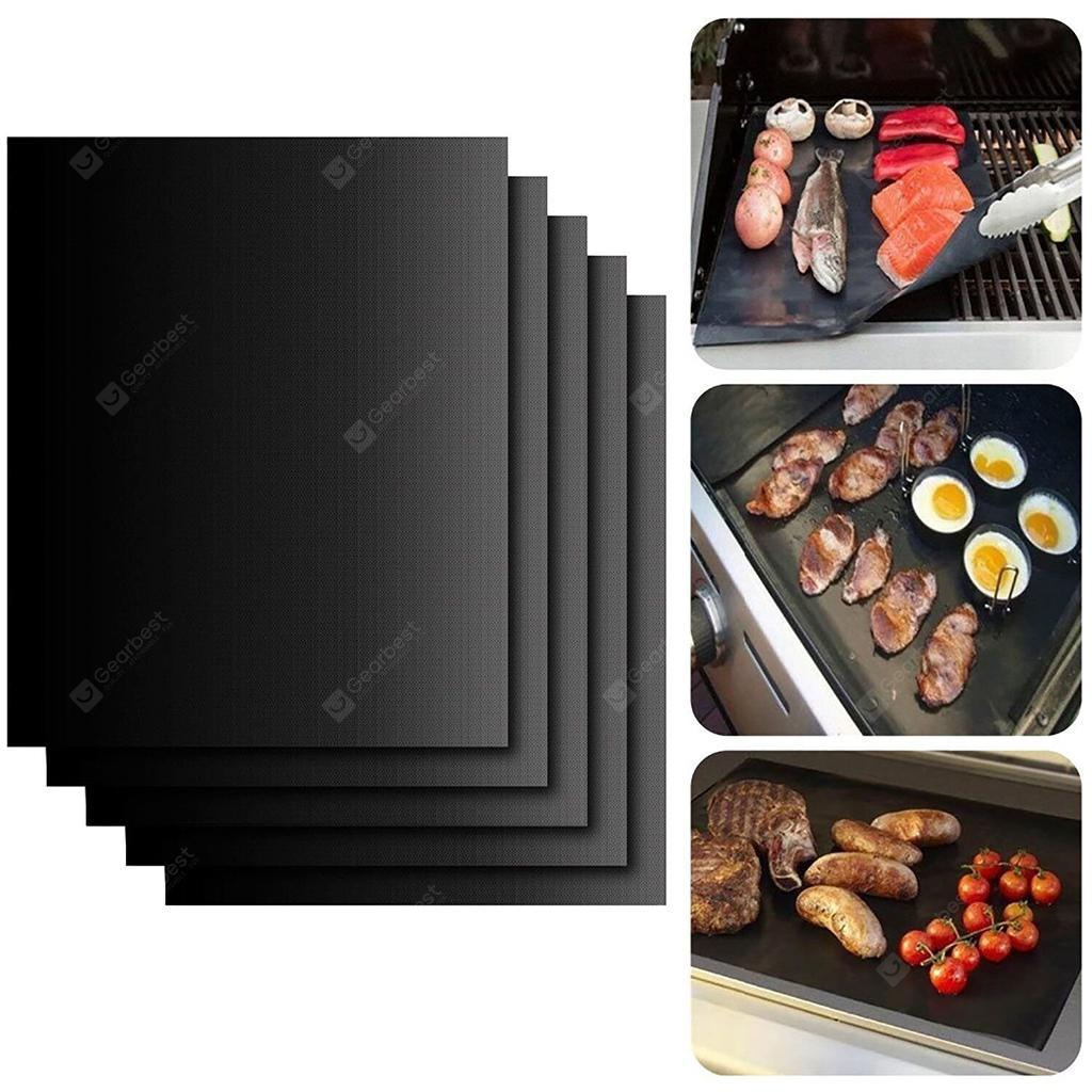"""Set of 5 Non-Stick BBQ Grill Mats, FDA Approved, PFOA free, Reusable, Heat Resistant and Easy to Clean, for Outdoor Picnic Cooking Barbecue, 16"""" x 13"""", Black"""