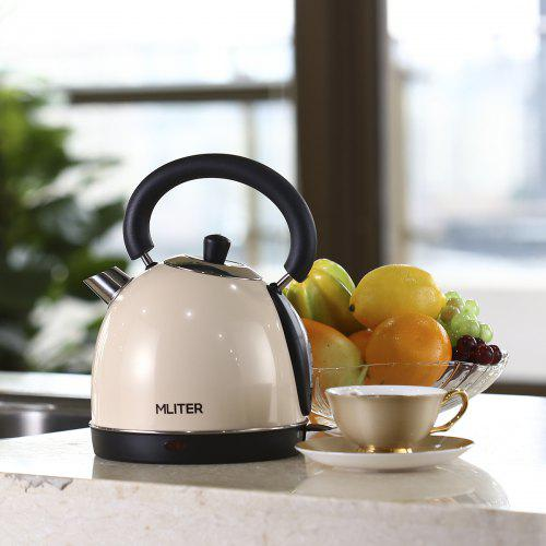 Mliter Electric Dome Kettle 3000W 1.8 Litre, Cordless, Stainless Steel, Cream-coloured, Boil Dry Protection