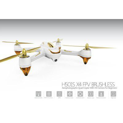 Hubsan H501S X4 4 Channel GPS Altitude Mode 5.8GHz Transmitter 6 Axis Gyro 1080P FPV Follow Me Headless Brushless Quadcopter Mode 2 RTF ( White)-US