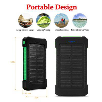Gearbest Floureon 10000mAh Solar Power Bank Green - GREEN