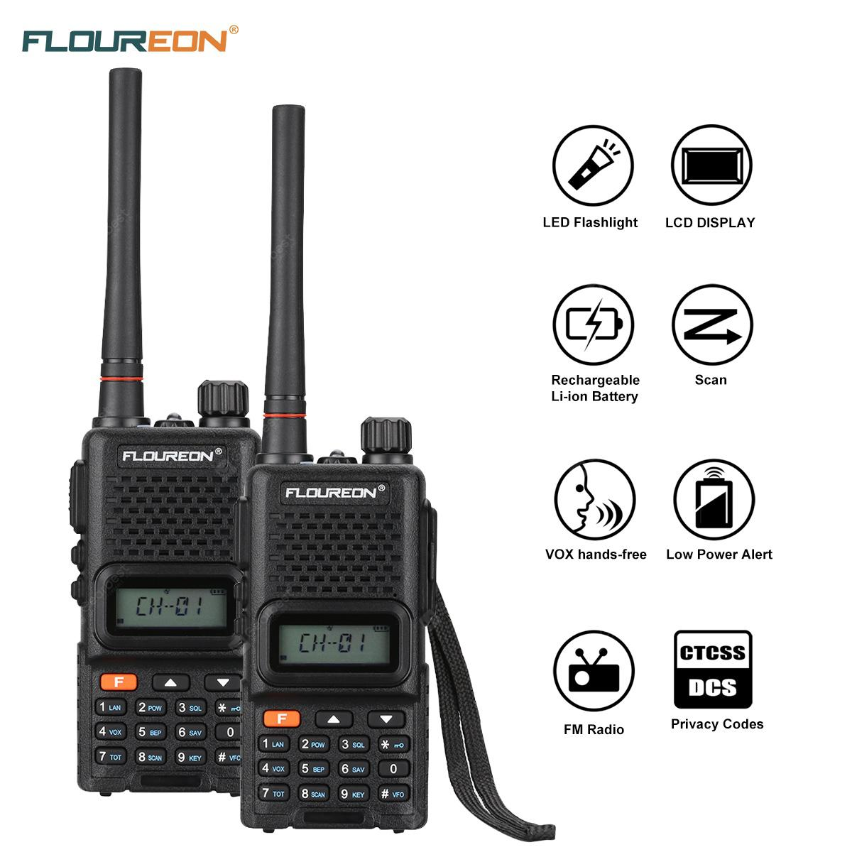 FLOUREON 16 Channel 2 Pack Handheld CTCSS/DCS Code Large LCD Display keypad Twins  FM Walkie Talkies Call Wireless Phone 2-Way Radio 7KM Range Programmable Interphone EU - BLACK