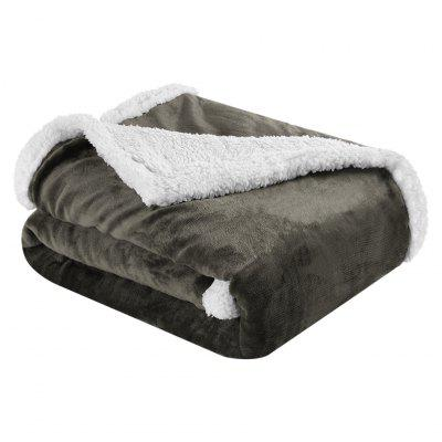 (BLANKET 2-SIDED BROWN)LANGRIA Reversible Flannel/Sherpa Throw Blanket Soft Cozy Warm Plush Fuzzy Easy Care Couch Sofa Bed Blankets, 60 x 80 Inches, Dark Brown