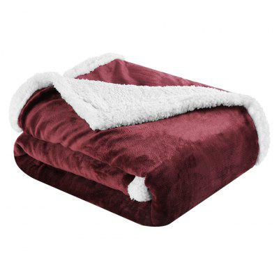 (BLANKET 2-SIDED BROWN)LANGRIA Reversible Flannel/Sherpa Throw Blanket Soft Cozy Warm Plush Fuzzy Easy Care Couch Sofa Bed Blankets, 60 x 80 Inches, Wine Red
