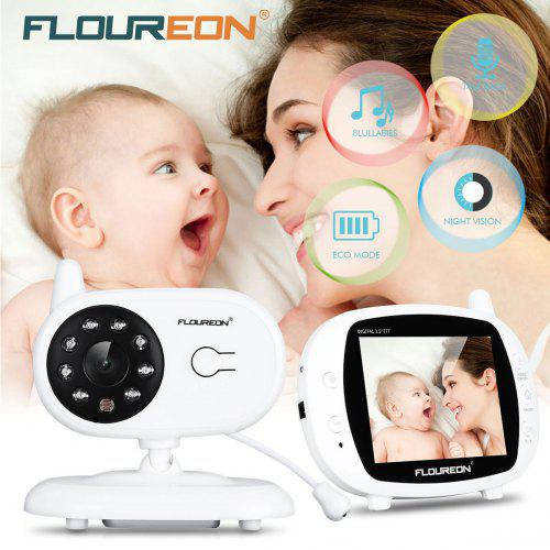 1defd84469f4 FLOUREON 3.5   Digital Wireless Baby Monitor LCD Video Nanny Security  Camera Temperature Display 2 Way Talk Night Vision Lullabies Radio -  82.57  Free ...