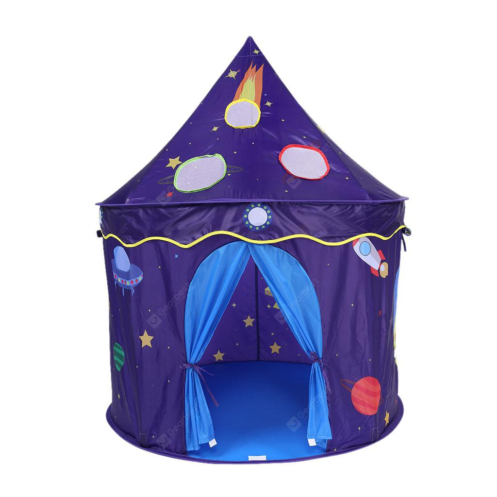 Adorable Castle Playhouse Space Theme Foldable Little Prince and Princess Tent Sturdy Game House Indoor and Outdoor Play with Zipper Storage Bag