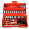 Replaitz 46pcs 1/4-Inch Socket Ratchet Wrench Combo Tools Kit for Auto Repairing 1/4 - RED