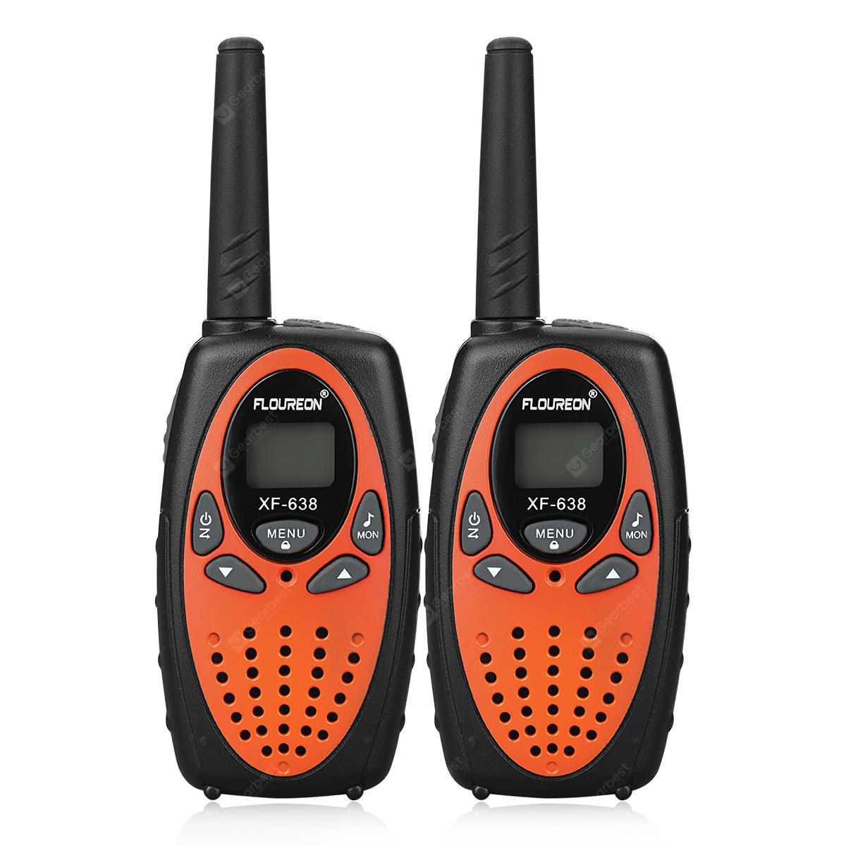 FLOUREON 8 Channel Walkie Talkies UHF400-470MHz Two-Way Radio 3KM Interphone Orange EU/UK - ORANGE