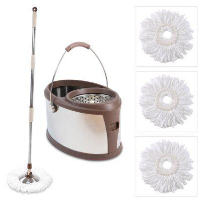 Finether Microfiber Spin Mop, Stainless-Steel Bucket and Wringer Set with 360 Degree Swivel Mop Head and 3 Mop Head Replacements for Home and Commercial Use