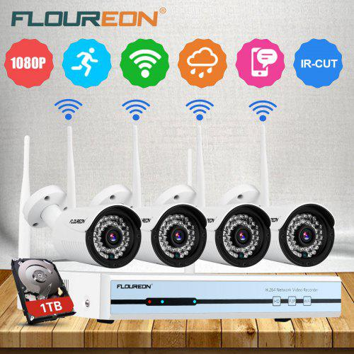 Floureon 4CH Wireless CCTV 1080P DVR Kit Outdoor WiFi NVR System