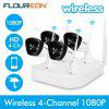 Floureon 4CH Wireless CCTV 1080P DVR Kit Outdoor Wifi WLAN 720P 1.0MP IP Camera Security Video Recorder NVR System EU - BLACK WHITE