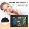 Welquic Large LCD Color Display Weather Station Wireless Barometer In/Outdoor Temperature Humidity Tester Weather Forecaster Snooze Alarm Clock EU - BLACK
