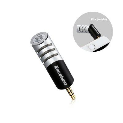 Excelvan R1 Condenser Mini Flexible Portable Microphone 3.5mm Plug Mobile Mic with Y Splitter for Apple IPhone Android & Windows , Youtube, Interview, Studio,Video Recording, Silver+Black