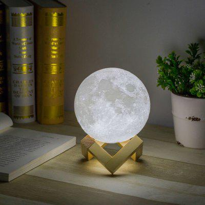 USB Rechargeable 3D Printing Moon Lunar LED Night Light Lamp with Wooden Stand, 12 cm Diameter, White