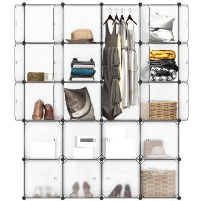 (CUBE 20 W/ DOOR WHITE) LANGRIA 20-Cube Interlocking Modular Storage Organizer Shelving System Closet Wardrobe Rack with Doors for Home Clothes Shoes Toys Knickknacks Storage Display, Translucent Whit