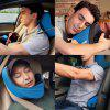 LANGRIA 6-in-1 Long Haul Astronaut Memory Foam Travel Pillow with Detachable Hood Adjustable Neck Size for All Ages Side Elastic Pocket Neck Travel Cushion for Plane Train Car Bus Office (Blue) - BLUE