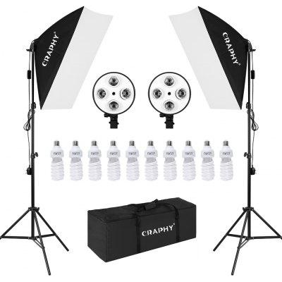 Craphy Studio Softbox Continuous Lighting Kit with carry bag