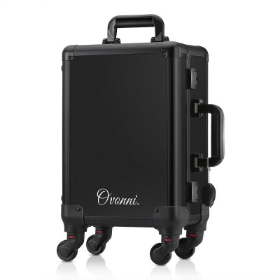Ovonni LED Lighted Rolling Travel Makeup Train Case with Mirror & 4 Detachable Wheels, Lockable Professional Artist Salon Studio Aluminum Trolley Cosmetic Organizer with Lift Handle 4 Trays,  Black
