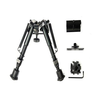 "6"" 9""Inch Adjustable Handy Spring Return Sniper Hunting Tactical Rifle Bipod (Black)"