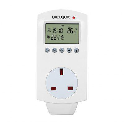 Welquic Plug-in Thermostat HY02TP Heating Cooling 5-2 Day Programmable Temperature Controller Socket with Timing Function for Electric Heaters UK Plug