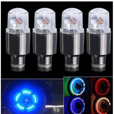 4pcs Bike Car Motorcycle Wheel Tire Tyre Valve Cap Flash LED Light Spoke Lamp Auto Accessories Neon Strobe LED Tire Lamp
