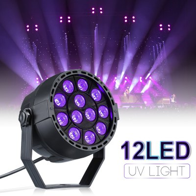 UV Lights 12W 12 LEDs Black Light Controlled by DMX for Halloween Christmas Disco Party Wall Washer