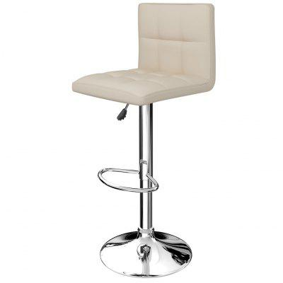 LANGRIA Set of 2 Gas Lift Height Adjustable Swivel Quilted Faux Leather Bar Stools Chairs with Chromed Base and Footrest for Bar Counter Office Home, Beige