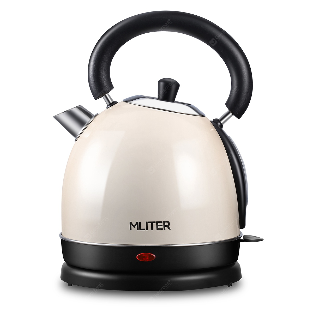 Mliter Electric Dome Kettle 3000W 1.8 Litre Cordless Stainless Steel Cream-coloured Boil Dry Protection - Beige
