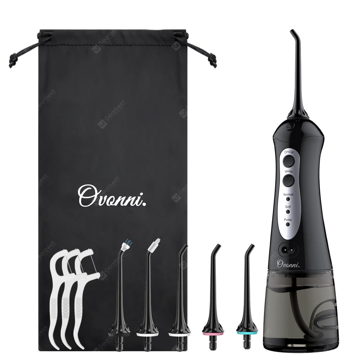 Ovonni Oral Irrigator Water Flosser Cordless USB Rechargeable Dental Care with 3 Modes and 200ML Water Tank IPX7 Waterproof Teeth Cleaner with 6 Jet Tips Replacement and Storage Bag
