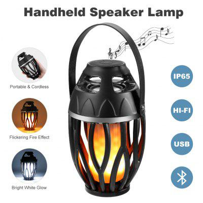 Finether Fashion LED Flame Lamp Bluetooth Speaker, Wireless HiFi Speaker Light, IP65 Waterproof USB Rechargeable Portable Atmosphere Lamp Flicker with TWS for Party Festival Camping, 2 Lighting Modes