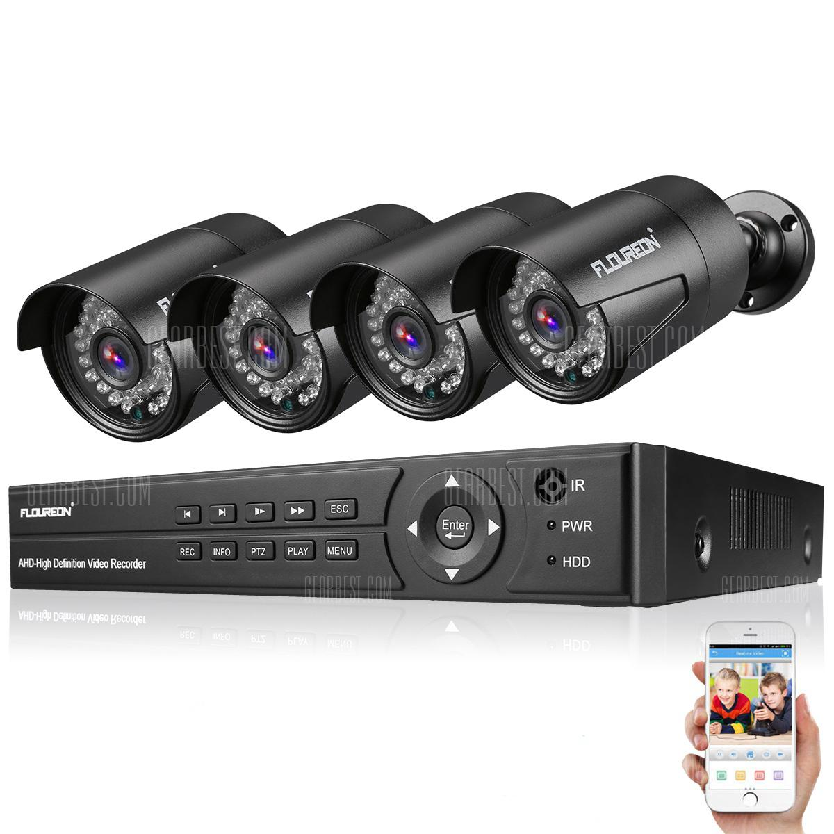 FLOUREON 8CH 1080P 1080N DVR AHD + 4 Outdoor 2MP Telecamere