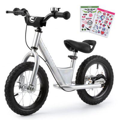 ENKEEO 12'' Sport Balance Bike No Pedal Control Walking Bicycle Transitional Cycling Training with Adjustable Seat and Upholstered Handlebars for Kids Toddlers under 3'11''