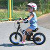 ENKEEO 12'' Sport Balance Bike No Pedal Control Walking Bicycle Transitional Cycling Training with Adjustable Seat and Upholstered Handlebars for Kids Toddlers under 3'11'' - BLACK