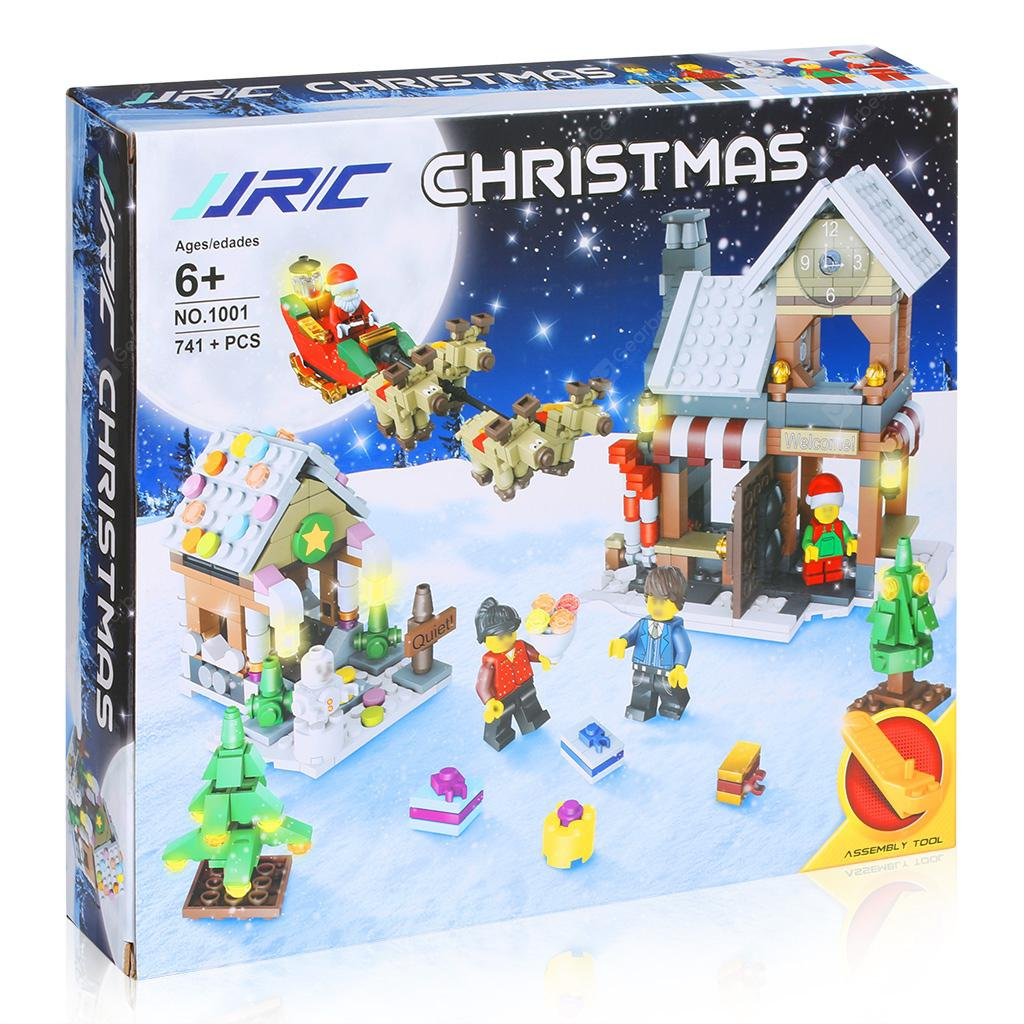JJRC 741PCS Christmas Brick Blocks Kit with an Assembly Tool Christmas Surprise Santa Claus and Reindeer Christmas Decoration