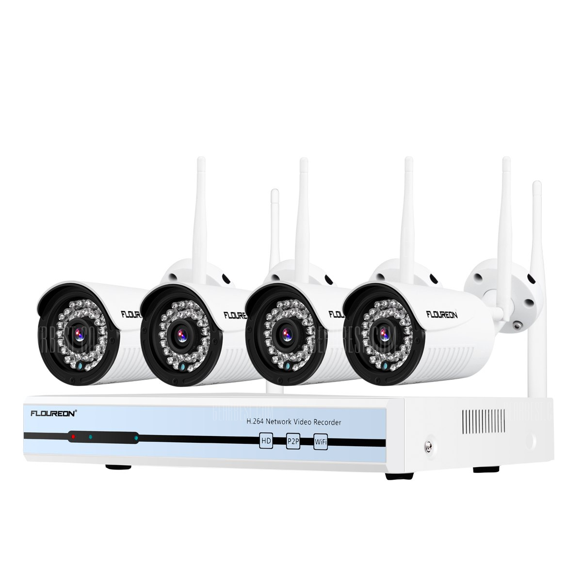 Floureon 4CH Haririk CCTV DVR Kit 1080P Kanpoko IP Kamera WiFi WLANen 720P 1TB HDDSecurity Video Recorder NVR System EB - White