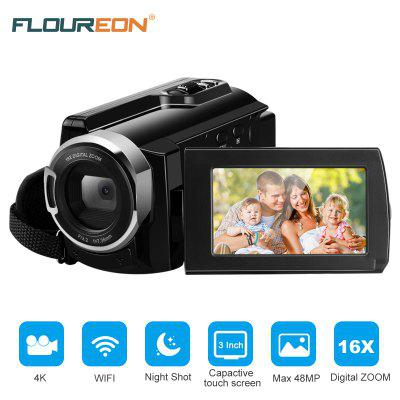 Camera Camcorder FLOUREON 4K Ultra-HD 48 Mega Pixels 3.0 Inch Capacitive LCD 270 Degrees Rotation With Touching Screen AP Mode WIFI 16x Digital Zoom Night Shot PC Web Camera US