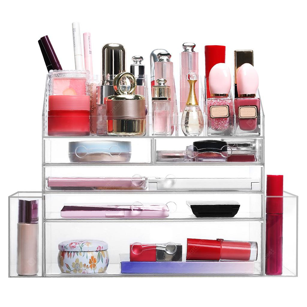 LANGRIA Clear Acrylic Makeup Organizer Countertop Jewelry and Cosmetic Organizer Cosmetic Storage Box Display Case with 5 Drawers 2 Side Compartments 12 Lipstick Slots Transparent
