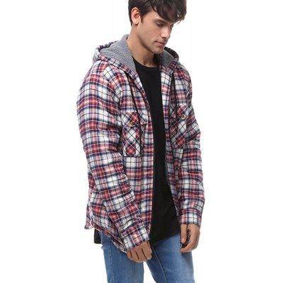 Men Plus Size Shearling Glaid Hooded Jacket
