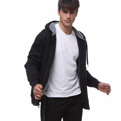 Men Shearling Hooded Outfit Jacket