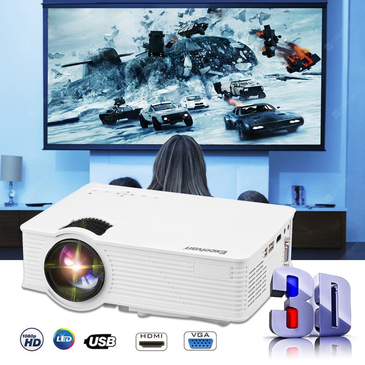 Excelvan mini LED projector 800x480 pixels 1200 lumens Home Cinema theater HDMI/USB/USB(5V)/SD/AV/VGA/3.5mm EHD09?GP9? - WHITE EU PLUG