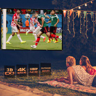 Excelvan 100 Inch 16:9 Collapsible White Portable Projector Cloth Screen With Hanging Hole For Home And Outdoor Use