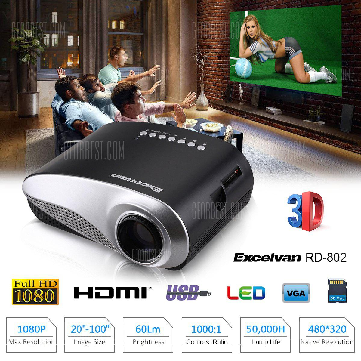 Excelvan Home Theater LED Projector - BLACK EU PLUG