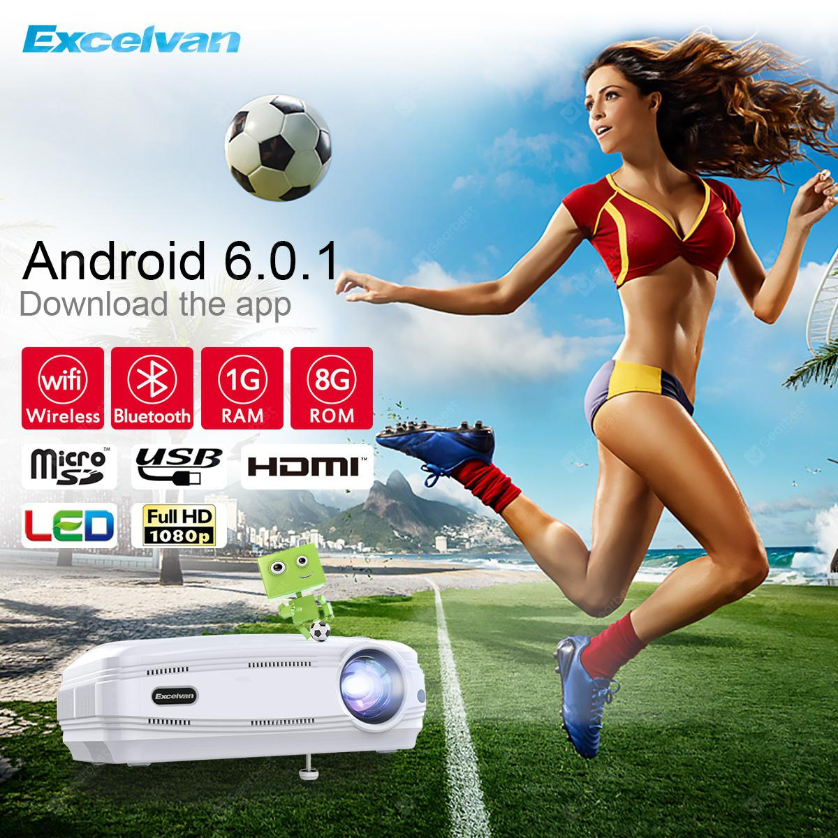 Excelvan BL-59 6.0.1 3200 Android lumenů * 1280 768 200 Inch Multimediální projektor Support Red & Blue 3 1080P WiFi + Bluetooth 1G 8G ATV Outdoor Movie Game pro domácí kino - EU WHITE