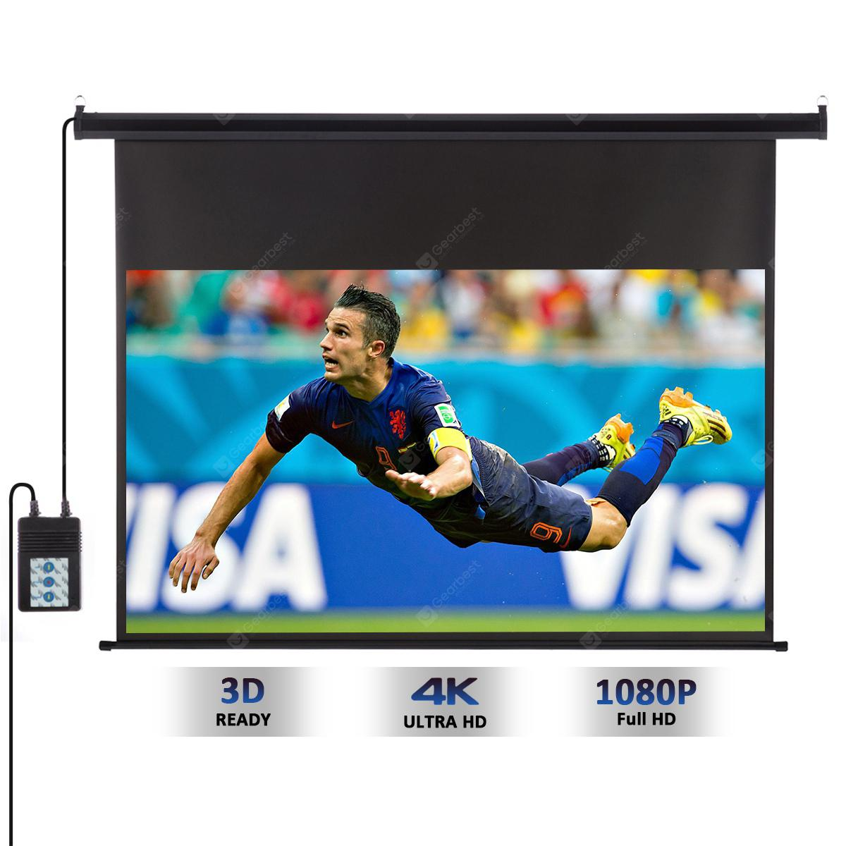 Excelvan 120-inch 16: 9 1.2 Gain Wall Ceiling Electric Motorized HD Projector Screen with Remote Control Up and Down for Home and Office - BLACK PSE