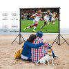 Excelvan 100 Inch 16:9 Collapsible White Portable Projector Cloth Screen With Hanging Hole For Home And Outdoor Use - BLACK WHITE