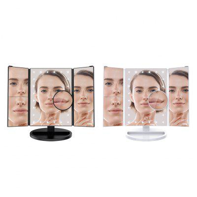 LANGRIA Trifold LED Lighted Makeup Mirror with 10X Magnification Dimmable Vanity Mirror Removable Base, 180° Rotatable Portable Travel Cosmetic Mirror USB/Batteries Powered Countertop Bathroom, White