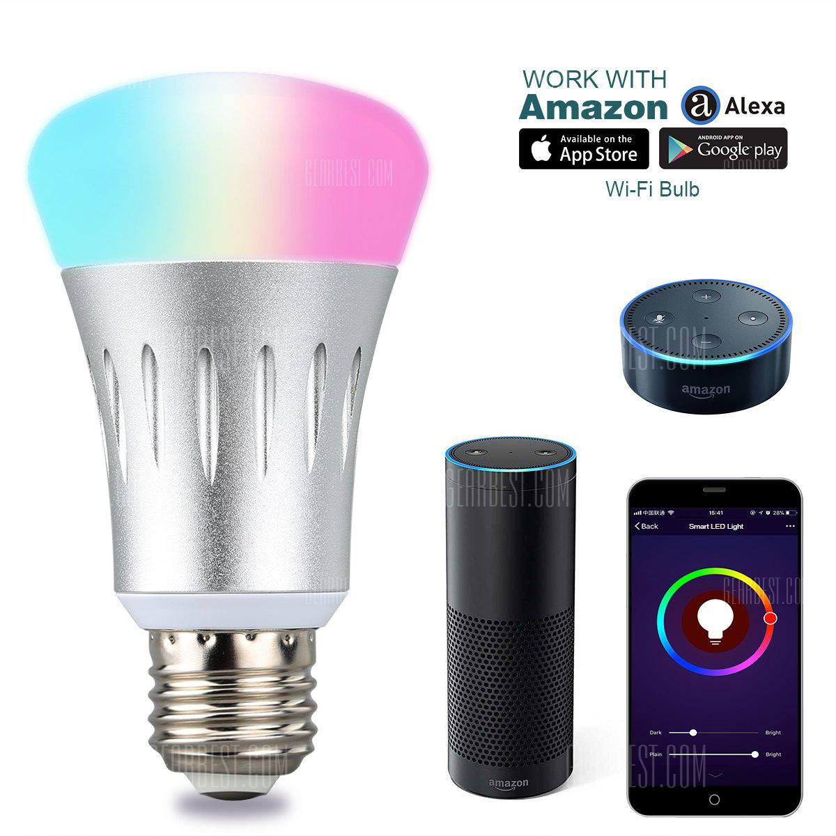 Excelvan WIFI Smart LED Bulb, Works with Amazon Alexa, E27 Dimmable Multicolored LED for iOS Android, App Control / Voice Control, Home Lighting