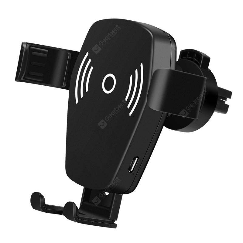 Excelvan W1 Car 2 in 1 Phone Holder Wireless Charger Single Hand Operation for iPhone X / iPhone 8 / 8P / Samsung Galaxy S8 / S8 Plus / S7 Plus 10W - BLACK