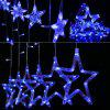 16.4 ft x 3.3 ft 12 Stars 138 LED Curtain String Lights Fairy Lights with 8 Light Modes for Christmas Wedding Garden Patio Lawn Window Celebration Decoration, Blue Glow - BLUE