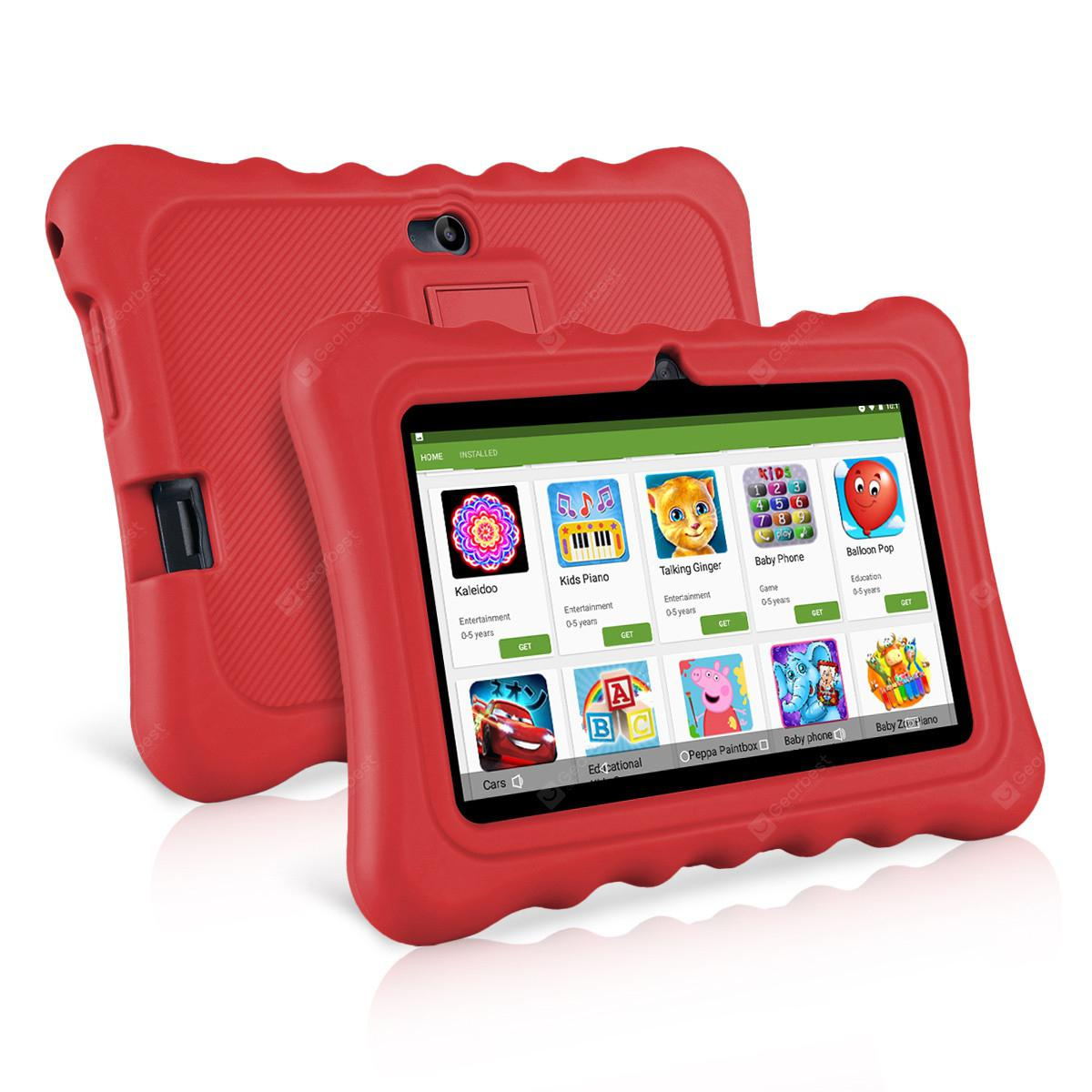 "Ainol Q88 Kids Android 7.1 OS Tablet 7"" Display 1G RAM 8 GB ROM Light Weight Portable Kid-Proof Shock-Proof Silicone Case Kickstand Available With iWawa For Kids Education Entertainment --RED"